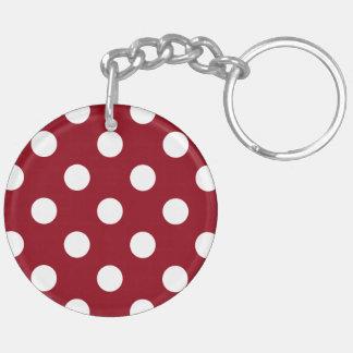 深紅の白い水玉模様 キーホルダー