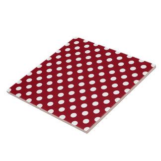 深紅の白い水玉模様 タイル