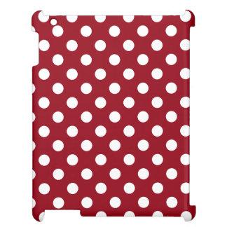 深紅の白い水玉模様 iPad カバー
