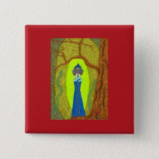 深紅の花(ダックスフントVer。) ボタン 5.1cm 正方形バッジ
