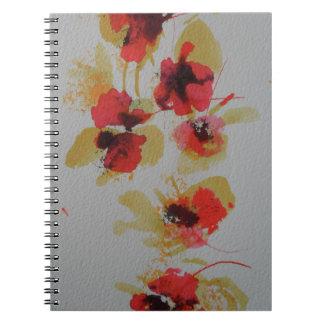 深紅の赤いケシの花の分散 ノートブック