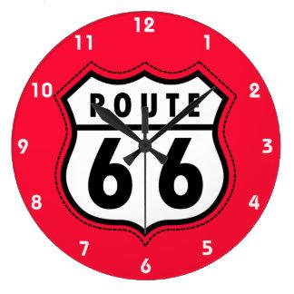 深紅の赤いルート66の交通標識 ラージ壁時計