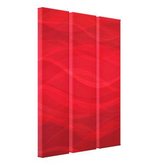 深紅の赤い波の抽象的で写実的なトリプティクのキャンバス キャンバスプリント