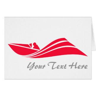 深紅の赤い速度のボート カード