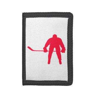 深紅の赤のホッケー ナイロン三つ折りウォレット