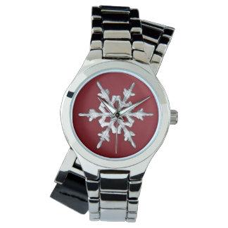 深紅の銀製及び白い雪片 腕時計