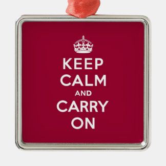 深紅のKeep Calm and Carry On (白い文字) メタルオーナメント