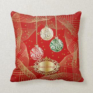深紅及び渦巻形のな金ゴールドの点のクリスマスのアクセント クッション