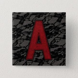 深紅手紙A 5.1CM 正方形バッジ