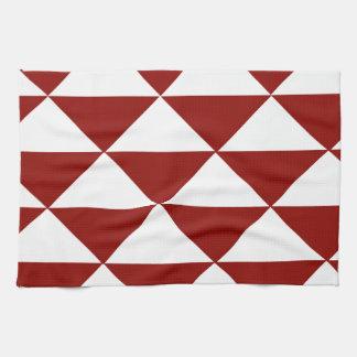 深紅色および白い三角形 キッチンタオル