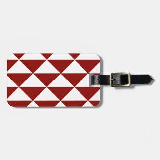 深紅色および白い三角形 ラゲッジタグ