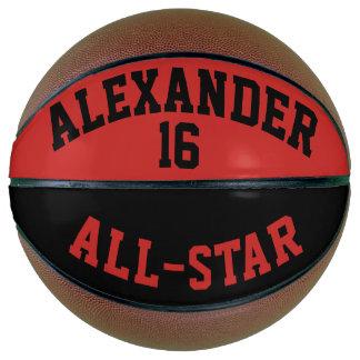 深紅色および黒いオールスター バスケットボール
