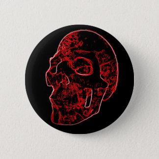 深紅色のスカルボタン 5.7CM 丸型バッジ