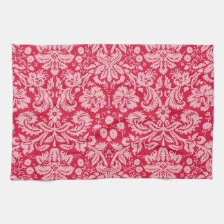 深紅色のダマスク織パターン キッチンタオル