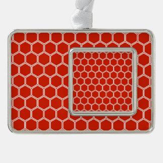 深紅色の六角形1 シルバープレートフレームオーナメント
