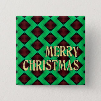 深紅色の目のダイヤモンドのメリークリスマス 5.1CM 正方形バッジ