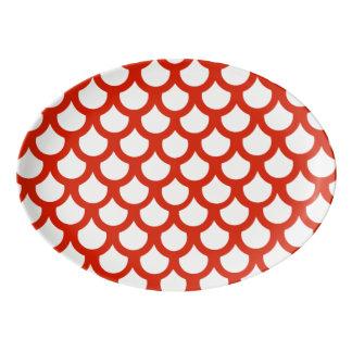 深紅色の魚スケール1 磁器大皿