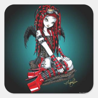 """""""深紅色の""""赤い入れ墨のサイバーのゴシックの天使のステッカー スクエアシール"""