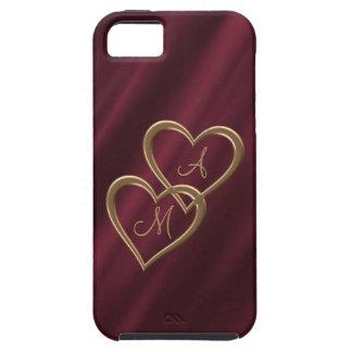 深紅色金ゴールドのハートのモノグラム iPhone SE/5/5s ケース