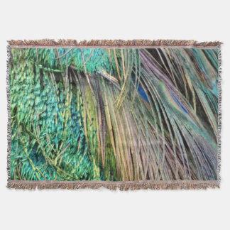 深緑およびタンの孔雀の羽 スローブランケット