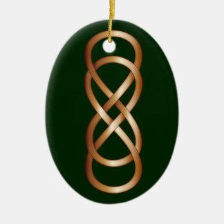 深緑の青銅の二重無限 セラミックオーナメント