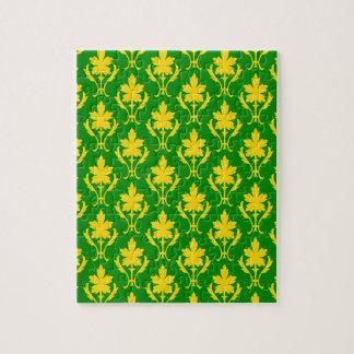 深緑色およびオレンジ華美な壁紙パターン ジグソーパズル