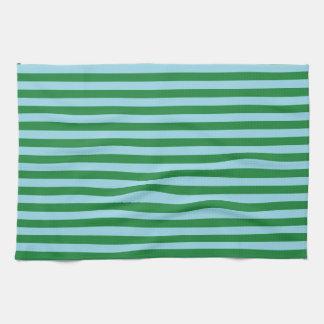 深緑色およびパステル調の青い縞 キッチンタオル