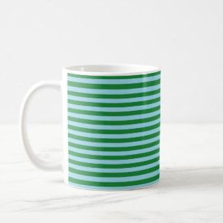 深緑色およびパステル調の青い縞 コーヒーマグカップ