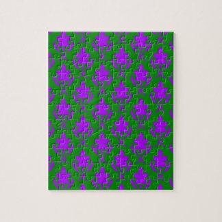 深緑色および紫色の華美な壁紙パターン ジグソーパズル