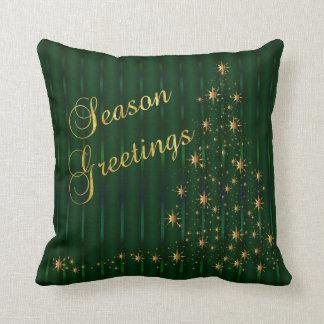 深緑色および金ゴールドの星のクリスマスツリー クッション