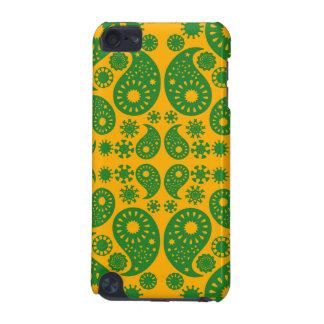 深緑色および黄橙色のペーズリー iPod TOUCH 5G ケース