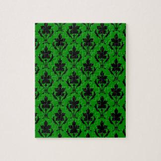 深緑色および黒く華美な壁紙パターン ジグソーパズル