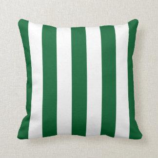 深緑色そして白いXLストライプなパターン クッション