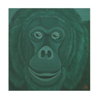 深緑色のオランウータンの木製の壁パネル ウッドウォールアート