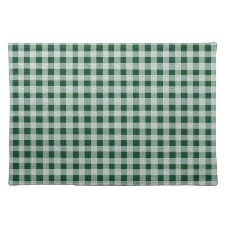 深緑色のギンガム; チェック模様 ランチョンマット