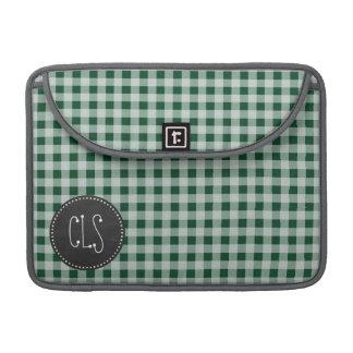 深緑色のギンガム; ヴィンテージの黒板の一見 MacBook PROスリーブ