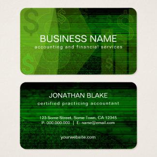 深緑色のドル記号の抽象的な会計士 名刺