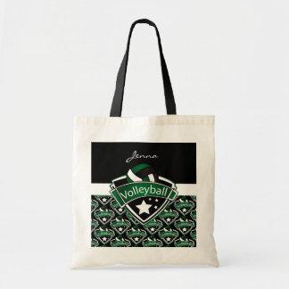 深緑色のバレーボールのロゴ トートバッグ
