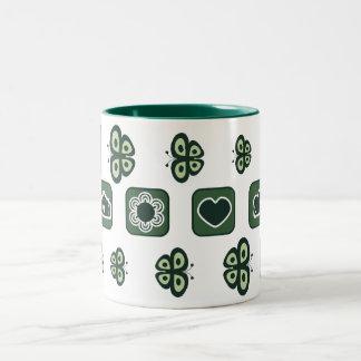 深緑色のベビーシャワーのギフトのマグ ツートーンマグカップ