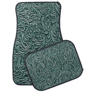 深緑色のヴィンテージのScrollworkパターン国 カーマット