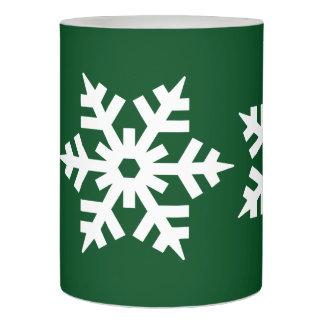 深緑色の敏感で白い雪片 LEDキャンドル