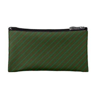 深緑色の斜めの縞模様 コスメティックバッグ