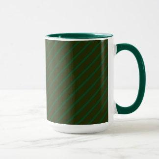 深緑色の斜めの縞模様 マグカップ