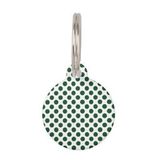 深緑色の水玉模様 ペット用タグ