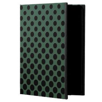 深緑色の滝のように落ちる黒い水玉模様 POWIS iPad AIR 2 ケース