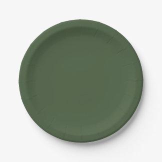 深緑色の無地 ペーパープレート
