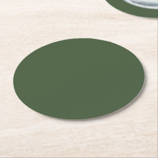 深緑色の無地 ラウンドペーパーコースター