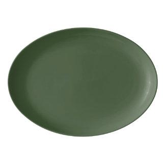 深緑色の無地 磁器大皿
