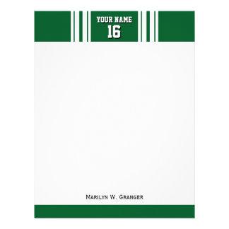 深緑色の白いチームジャージーカスタムな数名前 レターヘッド