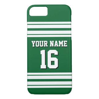 深緑色の白いチームジャージーカスタムな数名前 iPhone 8/7ケース